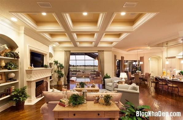 5b61c7aaf8febf2937a27206410eb11b Mẫu phòng khách truyền thống có thiết kế trần nhà chia ô