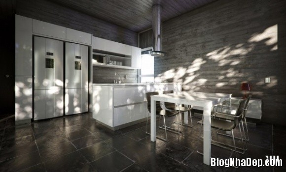 0e499d99e38fb487a5899848a123f64e Ngôi nhà với tông màu đen nằm giữa một vùng tuyết trắng