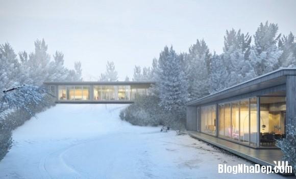 e7db54229d6d7408ac2e4c28ee96baba Ngôi nhà với tông màu đen nằm giữa một vùng tuyết trắng