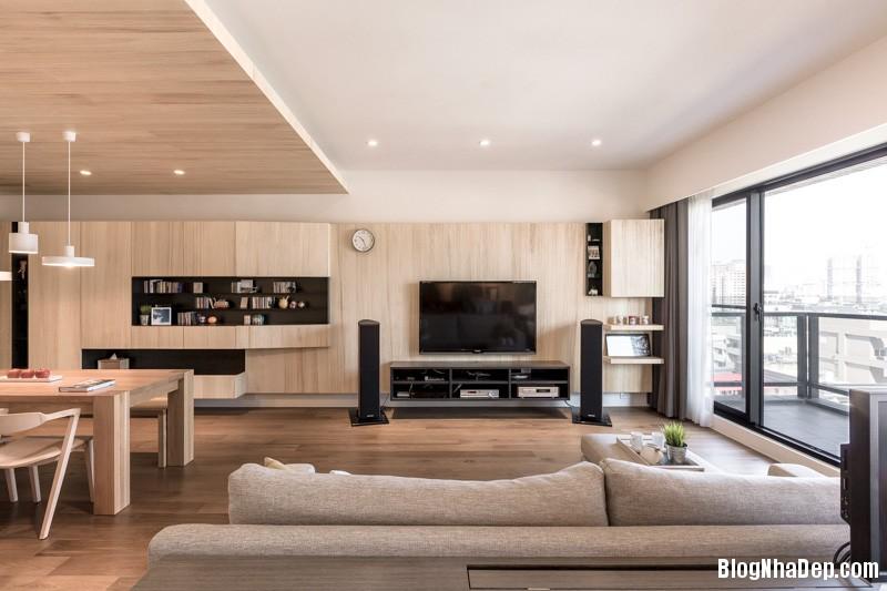 light wood paneling Căn hộ hiện đại với chất liệu hoàn toàn từ gỗ