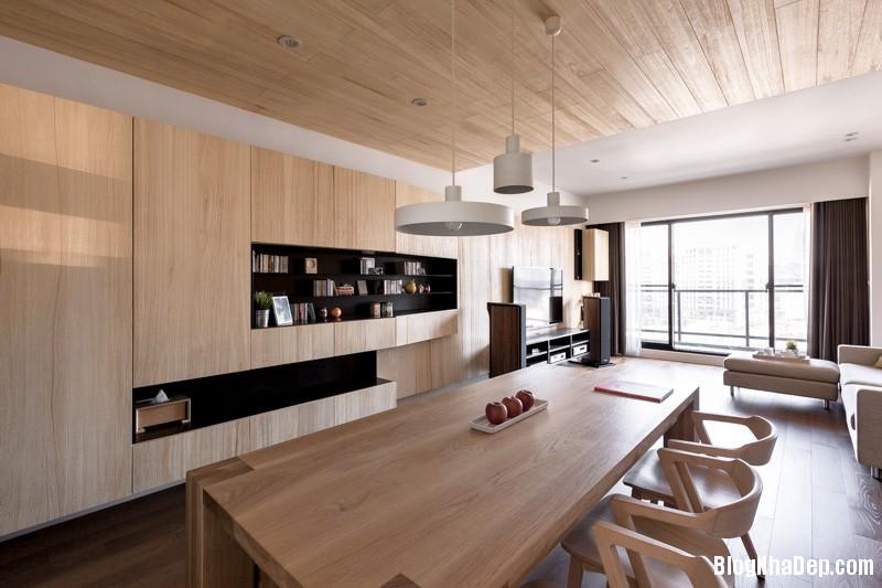wood panel ceiling Căn hộ hiện đại với chất liệu hoàn toàn từ gỗ