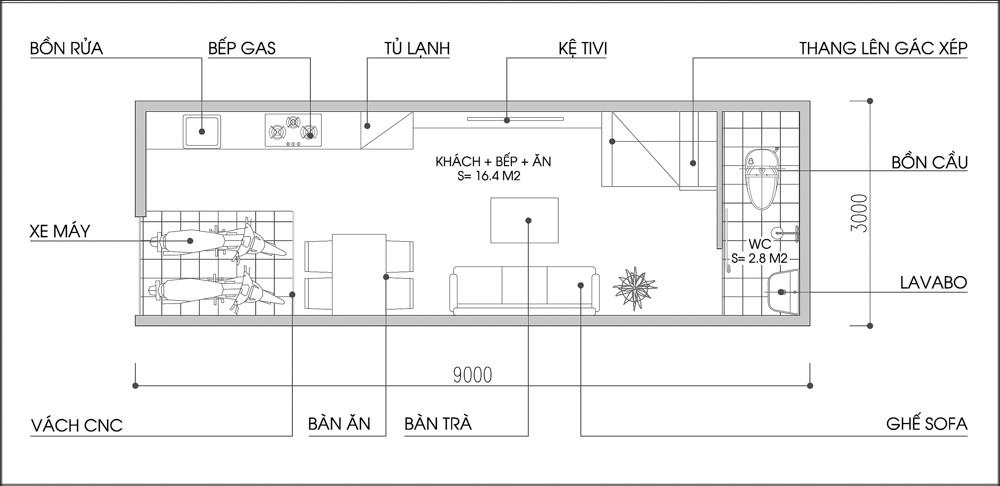 anh 1 bfb0f Tư vấn xây nhà trên mảnh đất diện tích 3x9m hướng đông nam