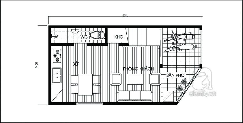 file.422604 Phương án bố trí cho nhà bị vát góc có diện tích 36,4m²