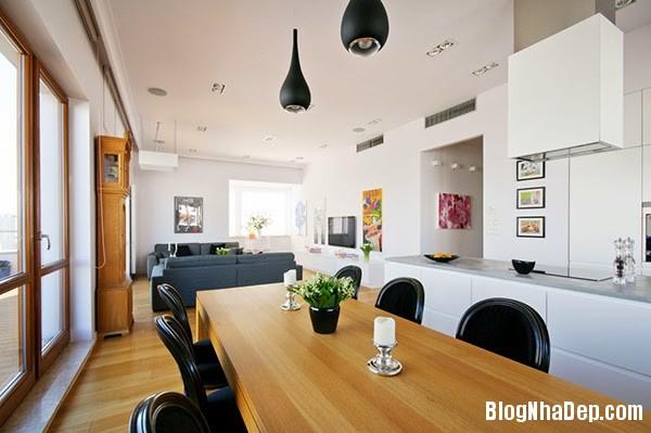 Living Room and Dining5 Căn hộ penthuose sang trọng với gam màu trắng