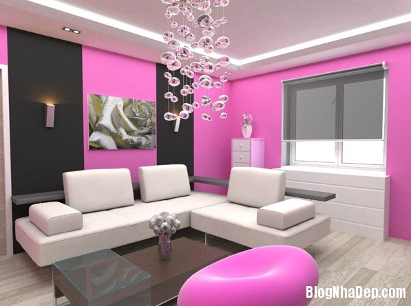 a67f33b05a5040b60982ca212f594cc1 Cách trang trí ngọt ngào, dễ thương cho phòng khách màu hồng