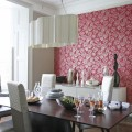 Dining room table chairs red floral feature wall wallpaper designer pendant lampshade real home L etc 09/2007 not used